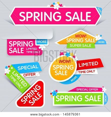 Spring Sale Banner Sale and discounts. limited time only. Vector illustration
