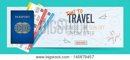 Special offer on business Travel. Business trip banner. Passport with tickets. Air travel concept. Business travel illustration. 50% off.