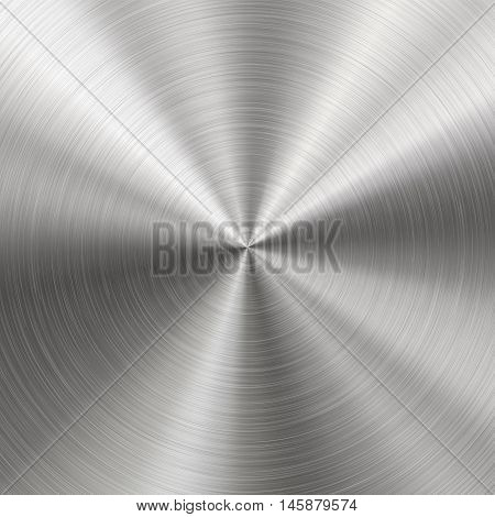 Technology background with polished brushed metal radial texture of alloy titan steel chrome nickel. EPS 10 contains transparency poster
