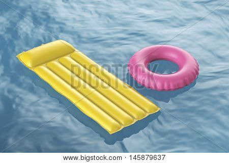Pool raft and swim ring floating on wavy water, 3D illustration