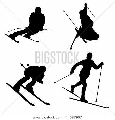 Silhouette set of different winter sports part 2