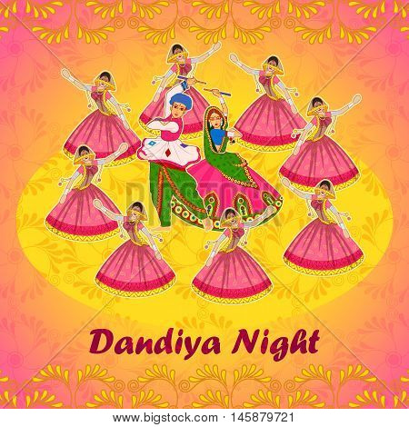 Vector design of couple playing Garba in Dandiya Night Navratri Dussehra festival
