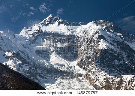 Vew of top Annapurna 2 II from Upper Pisang Round Annapurna circuit trekking trail Nepal