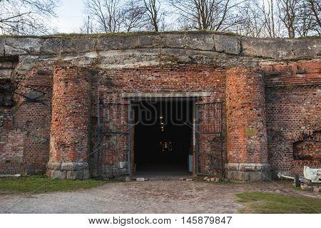 Cultural monuments, Kaliningrad, Russia, November 25, 2015 - German pre-war building, red brick, fortress Konigsberg, Kaliningrad cultural monuments