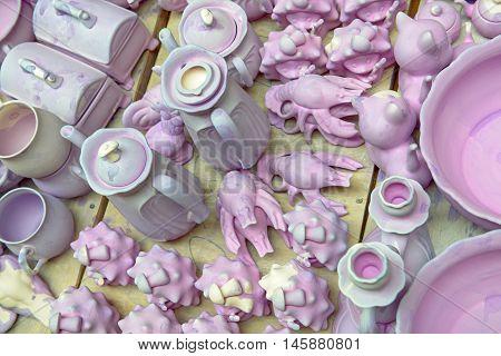 Ceramic ware under production in potter's workshop