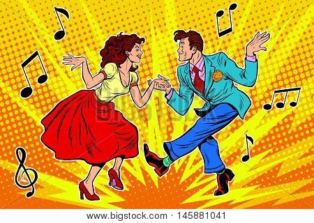 couple man and woman dancing, vintage dance, pop art retro comic book illustration