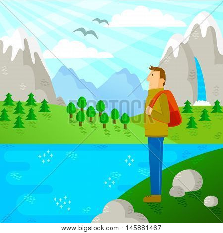 person with backpack traveling in beautiful nature