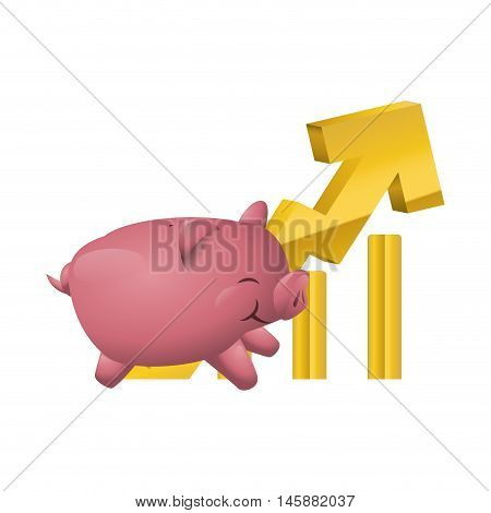 piggy and growth arrow icon. Money financial and economy theme. Isolated design. Vector illustration