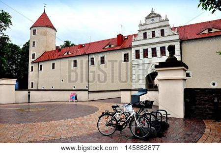 Friedberg Germamy- May 30 2013: Bicycles parked in front of the main entrance to the town's Schloss (castle)