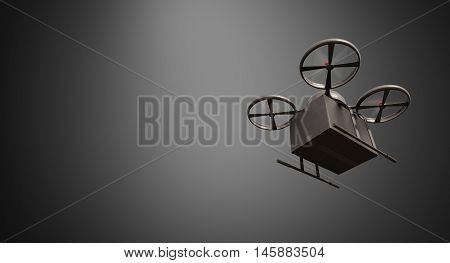 Carbon Material Generic Design Remote Control Air Drone Flying Black Box Under Empty Surface.Blank Gray Background.Global Cargo Express Delivery.Wide, Motion Blur effect.Bottom Angle View.3D rendering