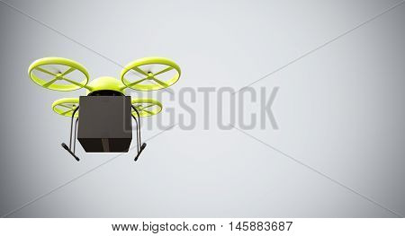 Green Color Material Generic Design Remote Control Air Drone Flying Black Box Under Empty Surface.Blank White Background.Global Cargo Express Delivery.Wide, Motion Blur effect.Front View.3D rendering