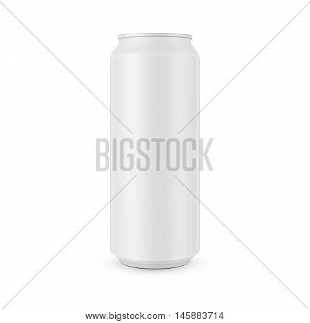 White aluminum can template for beer, soda, tonic or other beverage. 0, 5 l. Packaging collection. Vector illustration