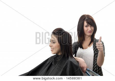 Hair Stylist And Client