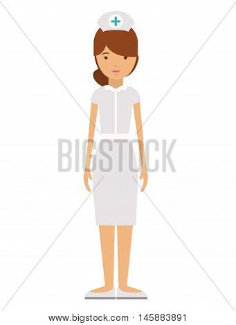 nurse woman and cartoon icon. profession worker and occupation theme. Isolated design. Vector illustration