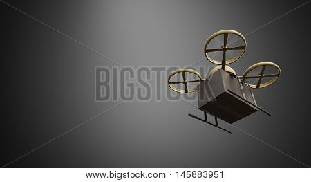 Green Military Color Material Generic Design Remote Control Air Drone Flying Black Box Under Empty Surface.Blank Dark Background.Global Cargo Express Delivery.Wide, Left Side Angle View.3D rendering