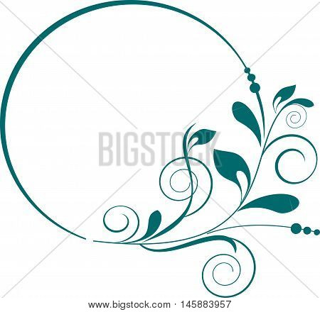 Round frame with decorative branch. Vector illustration.