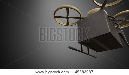Green Military Color Material Generic Design Remote Control Air Drone Flying Black Box Under Empty Surface.Blank Dark Background.Global Cargo Express Delivery.Wide, Bottom Front Angle View.3D rendering