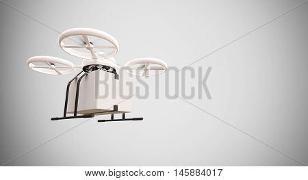 Medicine Generic Design Remote Control Air Drone Flying White Box Under Empty Surface.Blank Light Background.Global Cargo Aid Supplies Express Delivery.Wide, Motion Blur effect.3D rendering