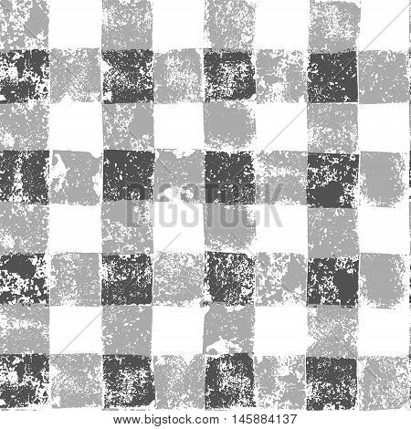 Grey and white checkered grunge gingham seamless pattern, vector background