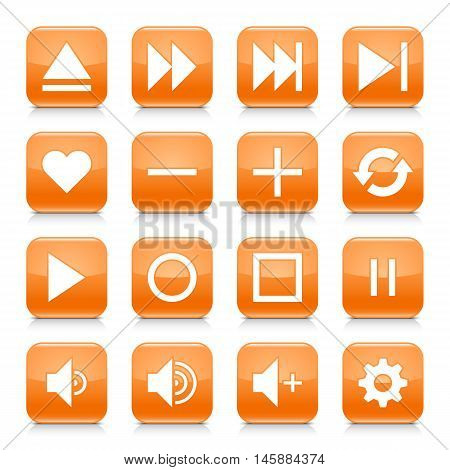 16 media control icon set 06. White sign on orange rounded square button with gray reflection black shadow on white background. Glossy style. Vector illustration web design element in 8 eps