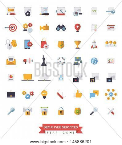 Search Engine Optimization Symbols. Collection of 49 flat design SEO and Web Services icons.
