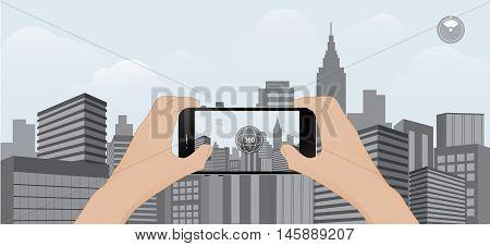 360 degree view in mobile.urban scene on mobile trend technology vector illustration