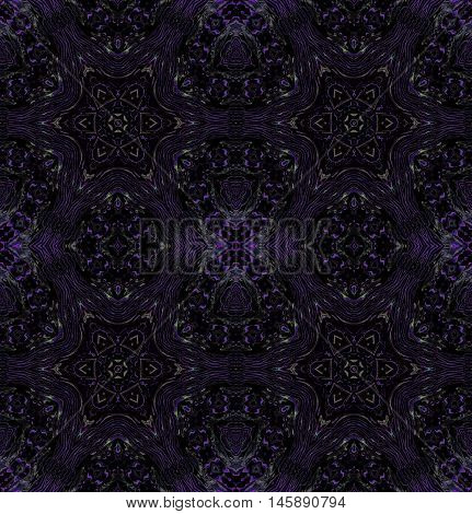 Abstract geometric seamless background. Dark ornaments, regular stars pattern in purple shades with black, ornate and extensive.
