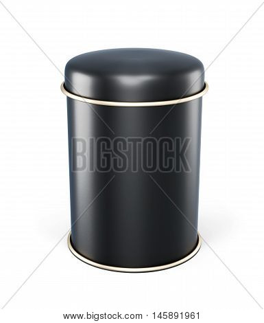Black Metal Jar For Tea Isolated On White Background. Template Tin Can With Space For Labels. Black