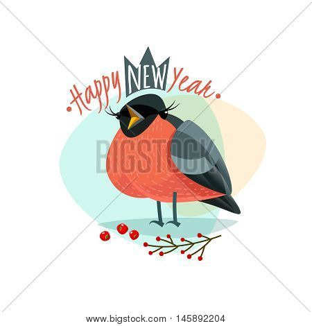 Christmas logo with funny Bullfinch. New Year Bullfinch. Vector illustration