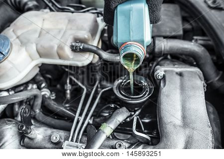 Automaster Top Up The Oil In A Car Engine.