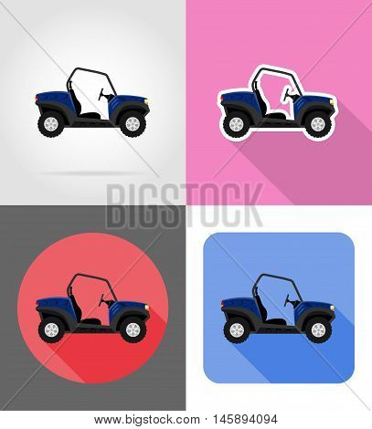 atv car buggy off roads flat icons vector illustration isolated on background