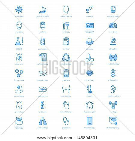 Vector line icons with medical symbols specialization. Medical professions. Line icons of narcology cosmetology obstetrics medical testing and other.