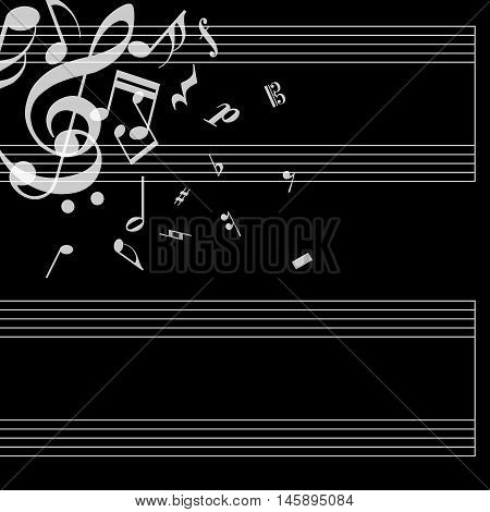 Musical poster with stave and notes on black background. Simple concept for your album. Cover for music notebook