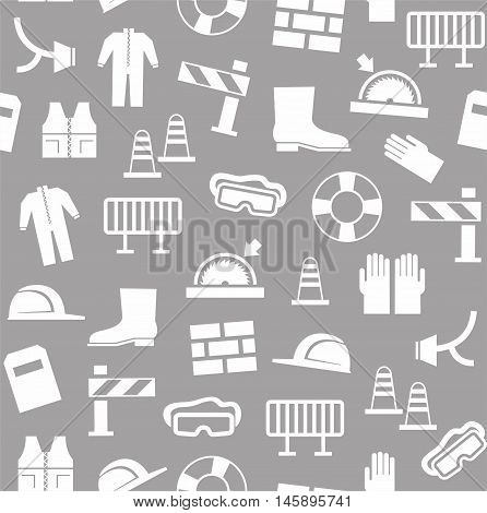 Occupational safety, personal security, background, seamless, gray.  White flat icons of protective clothing and protective items on the grey background. Vector background.