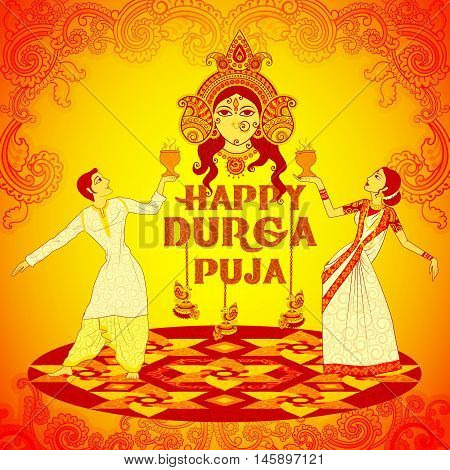 Vector design of Couple performing Dhunuchi dance of Bengal for Durga Puja in Indian art style