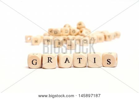 word with dice on white background - gratis