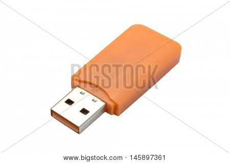 USB Flash Drive closeup on white background