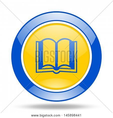 book round glossy blue and yellow web icon