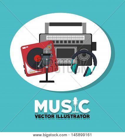 radio vinyl microphone headphone instrument icon. Music sound and concert design. Vector illustration