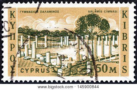 CYPRUS - CIRCA 1962: A stamp printed in Cyprus shows Salamis Gymnasium, circa 1962.