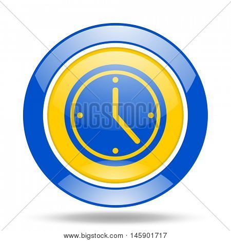 time round glossy blue and yellow web icon