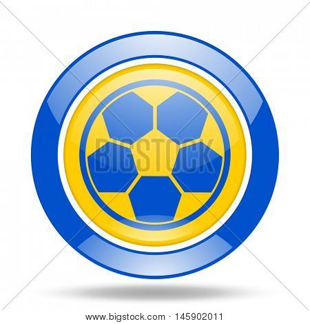 soccer round glossy blue and yellow web icon