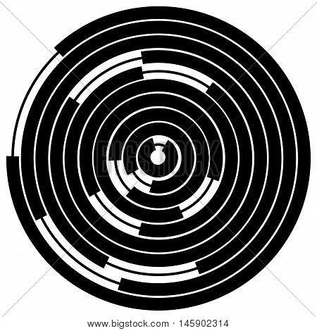 Random Segmented Circles / Rings. Radial, Radiating Circular Element