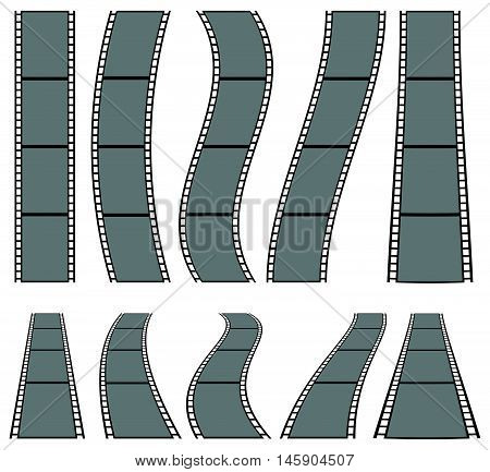 Film Strip Illustration For Photography Concepts. Set Of Several Elements.