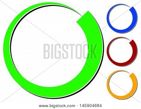Circle Design Element With Knockout Shadow In 4 Colors