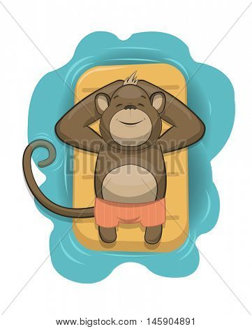 Vector monkey relaxing on air mattress in the sea, eps10