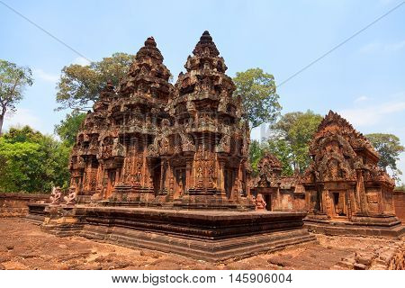 Banteay Srei - 10th century Cambodian temple dedicated to the Hindu god Shiva located in the area of Angkor in Cambodia