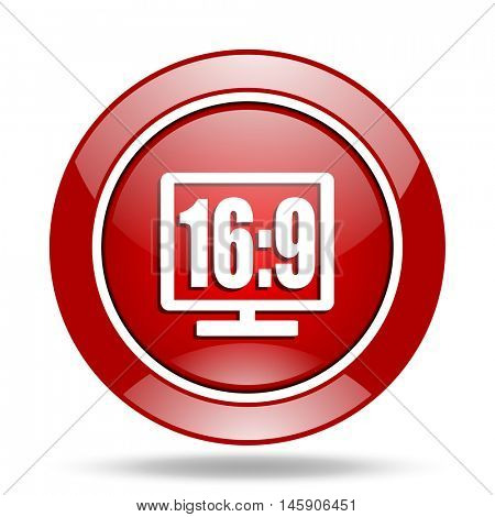 16 9 display round glossy red web icon