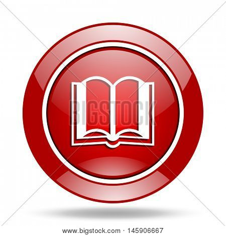 book round glossy red web icon