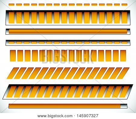 8 Different Horizontal,  Level / Progress Indicators, Meters